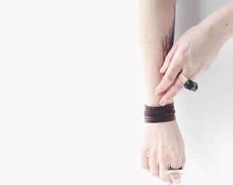 Black Cork Tessa Bracelet - Laser Cut EcoFriendly Cork Fabric Black Dyed Bracelet