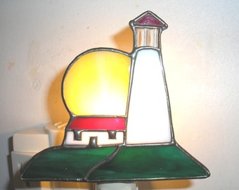 LT Stained glass Light House night light lamp with sun and house