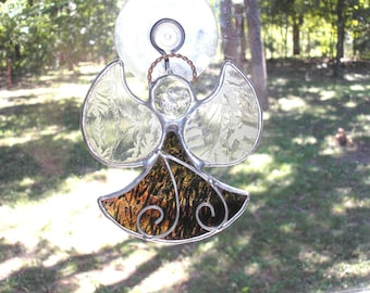 LT Stained glass Angel sun catcher light catcher mauve, maroon, gold, with wire accent window ornament my hand made in the USA unique gift