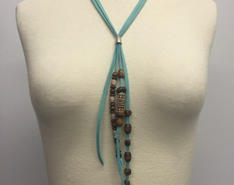 CA Deerskin Beaded Boho Statement Necklace
