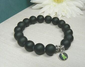 Men's Lyme Disease Bracelet, Men's Bracelet, Men's Black Beaded Bracelet, Men's Lyme  Awareness Bracelet, Men's Medical Bracelet