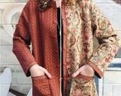 Vintage Reversible quilted cotton paisley jacket medium large