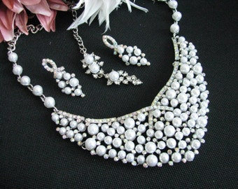 Bridal Necklace Wedding Necklace Earrings Pearl Necklace Earrings Wedding Jewelry Bridal Jewelry Pageant Jewelry
