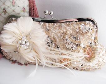 Peach Wedding Clutches, Bridal, Bridesmaids Clutch, Prom Clutch, Evening Clutch, Formal Clutch, Party Clutches, Accessories, Satin Clutch