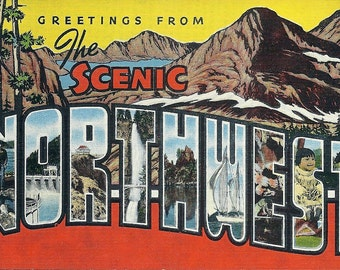 1940's Greetings From Scenic Northwest Vintage Postcard