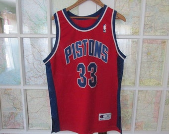 Vintage 1990s Authentic Sewn On Letters Champion NBA Detroit Pistons Grant Hill 33 Basketball Jersey Size 48 Red Alternate
