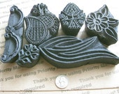 6 Vintage Wood Stamps With Find Detail in great shape for Clay or Fabric stamping box 4