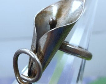 Size 6.5 Ring : Vintage Sterling Silver Calla Lily by Nye
