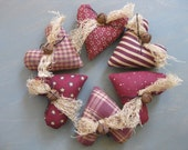Mini Heart Bowl Fillers - Set of  6 - Primitive Valentine's Day - Maroon Hearts - Grungy Fabrics - Wedding - Anniversary - Sweetest Day
