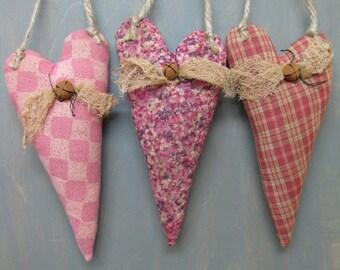 Primitive Valentine's Day Hanging Hearts - Set of 3 - Pink & Mauve Grungy Fabrics - Wedding - Anniversary - Valentine Hearts Home Decor