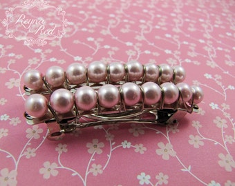 French Barrettes - Rose - Set of 2 - Baby pink glass pearls on steel french barrettes for girls, teens, and women by reynared