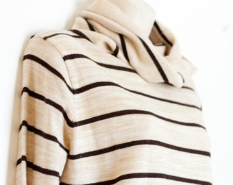 Vintage striped sweater, brown & tan cowl neck sweater with drawstring, Donnkenny