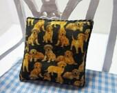 Dollshouse Miniature Cushion, Pillow.Golden Puppies on Black Background