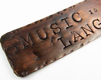 Music Bookmark with Inspiring Quote and Music Notes on Stamped Metal - Music Teacher or Musician Gift