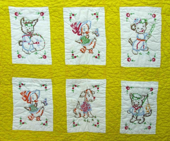 Vintage Baby Quilt 12 Embroidered Amp Cross Stitched Panels