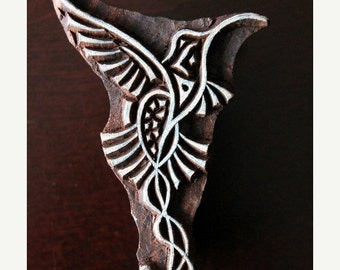 THANKSGIVING SALE Hand Carved Indian Wood Textile Stamp Block- Stylized Hummingbird
