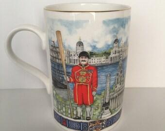 Vintage James Sadler Mug London Bridge Buckingham Palace Thames Heritage Collection Beefeater Churchill England Tea cup