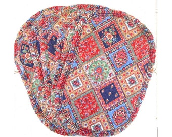 Quilted Fabric Placemats 70s Vintage Red Blue Ruffle Patchwork Print Table Settings