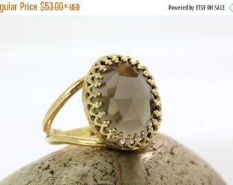25% OFF SALE - Smoky quartz ring,smokey ring,gold ring,oval ring,bridal ring,bridesmaid gifts,love gift,i love you ring