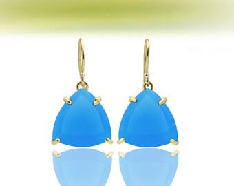 SALE - Blue chalcedony earrings,trillion earrings,gold earrings,triangle earrings,gemstone earrings,blue earrings