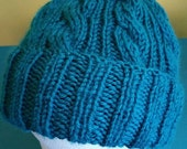 Teal Blue Cable Hand-Knit Hat. Super soft, for men or women- Ready to be Shipped