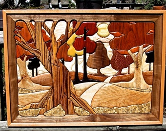 "Hardwood ""Woodland Trail"" Intarsia Wall Art"