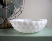 Vintage White Serving Bowl Vegetable Bowls Minimalist Simple Bubble Milk Glass Anchor Hocking Fire King Cottage Chic Wedding 3 Available