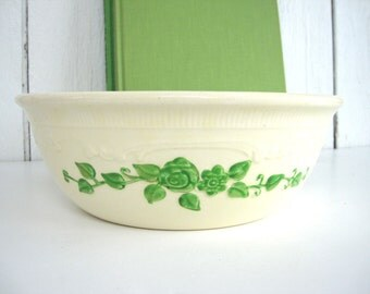 Vintage Serving Bowl Casserole Baking Dish Homer Laughlin Oven Serve Cream with Green Flowers 1940s