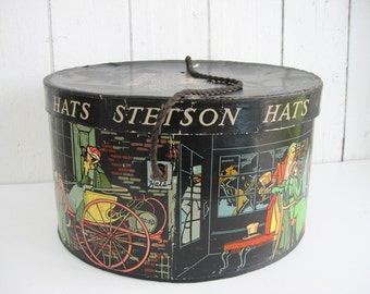 Vintage Stetson Hat Box Antique Hatbox Oval Lithograph Dickens Style Black Colorful Millinery Storage Victorian Scene