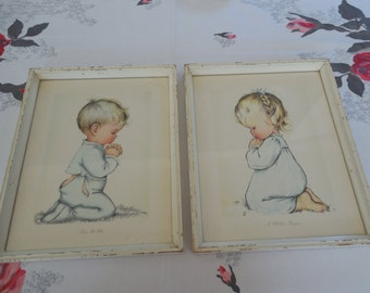 Darling Vintage Set of Little Boy and Girl Praying before Bed Shabby Frames