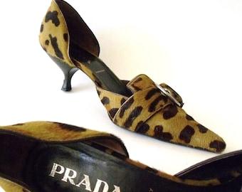 PRADA ~ Size 9.5 Leopard Cheetah Pony Hair Kitten Heel Leather Shoes ~ 1990's