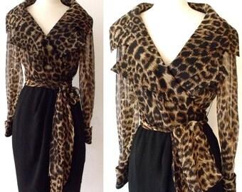 80's Party Leopard Black Wrap AJ BARI Cuffed Long Sleeved Dress ~ Small Medium