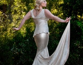 Champagne Erte Inspired Mermaid Skirt with Side Train