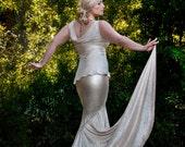 Champagne Erte Inspired Mermaid Skirt with Side Train