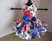 Dog Dress XS White with red and blue flowers  By Nina's Couture Closet
