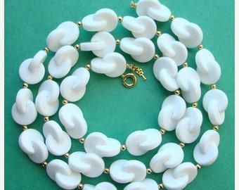 ON SALE Vintage Trifari Necklace White Lucite Interlock Circles Geometric