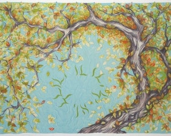 Handpainted Silk Chuppah, Under the Tree