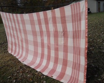 RESERVED for LINDA--REDUCED-Vintage Extra Long Heavy Cotton Dusty Rose/Beige Plaid Camp Blanket 149x69