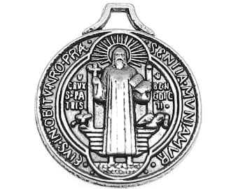 Antique Silver St. Benedict Religious Medal / Silver Jubilee Medals [Choose 1 piece or 10 pieces] -- Lead, Nickel & Cadmium Free 60959.J1J