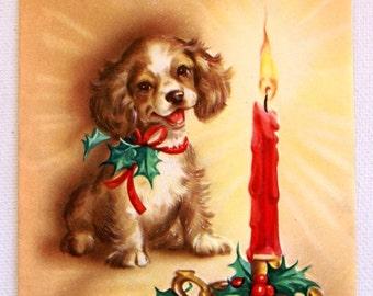 1940s Vintage  Cocker Spaniel Christmas card