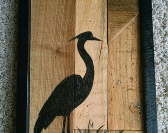 Rustic Hand Painted Blue Heron Silhouette on Reclaimed Wood Panel...Great Gift Idea...One of a Kind...Hand Made in Minnesota...Primitive