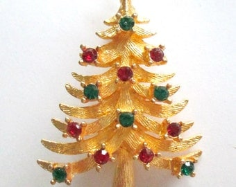 Brushed Gold Christmas Tree Brooch / MYLU Red Green Rhinestone Holiday Pin