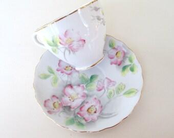 Dog Rose Teacup Saucer Set Kasuga Ware Flower of the Month