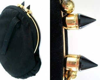 Antique Black Goth Clutch Bullet Stud Purse // 1920s 1930s Steampunk Hand Strap Purse