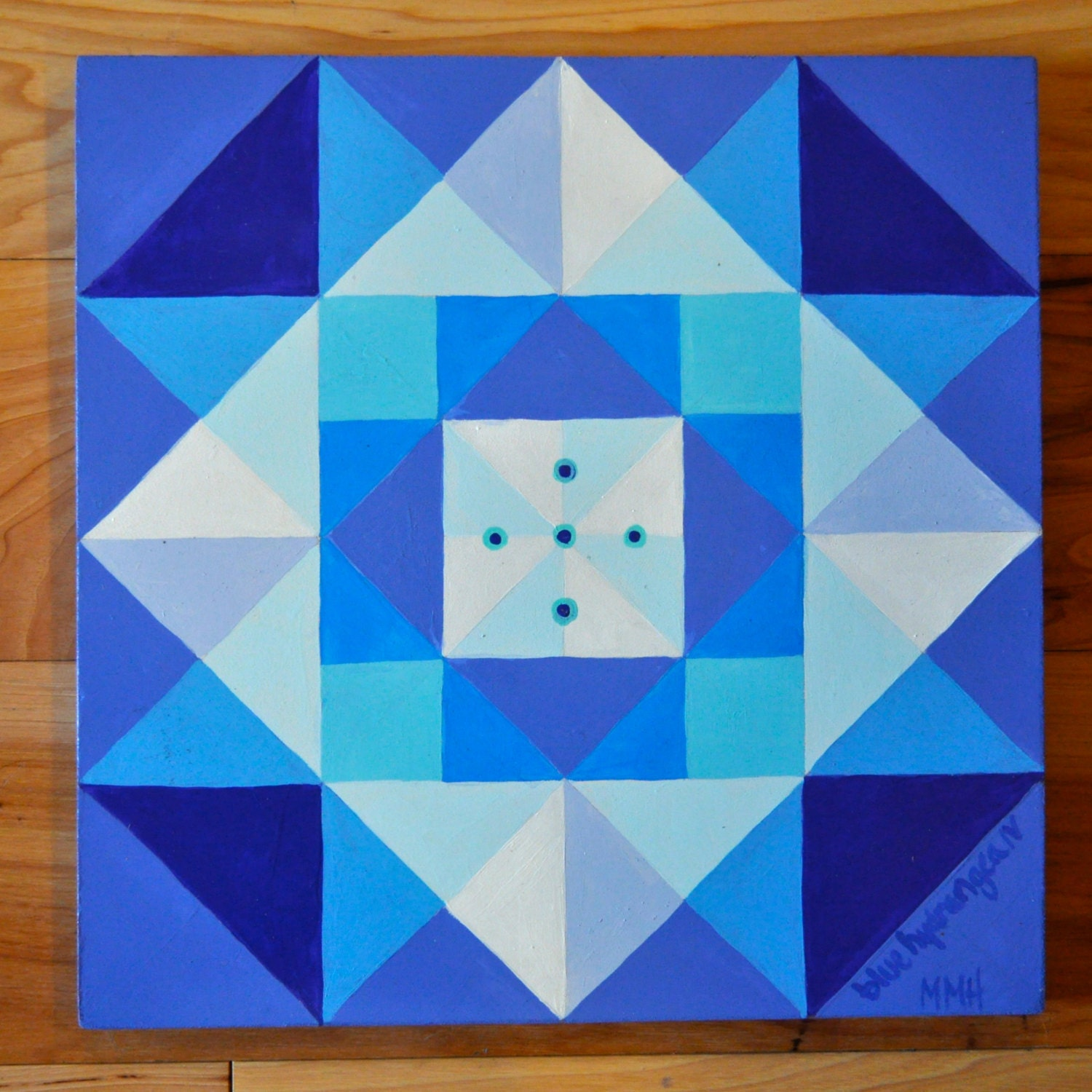 Barn quilt blue hydrangea iv for Garden shed quilting