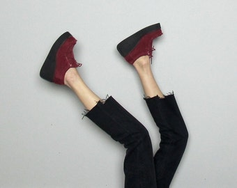 Red Corduroy CREEPERS Platforms 90s Womens Vintage Shoes Size 7 US