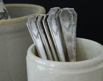 Set of Twelve Antique Dessert Forks. Silver Plated. Cottage. Vintage Silverware.