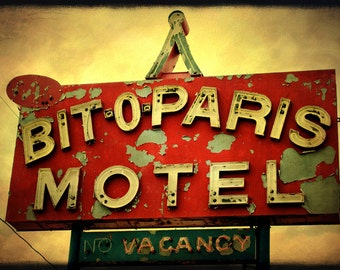 Paris Motel Sign Photograph Retro Niagara Falls Motel Sign American Blood red Yellow Ochre Funky art 8x12