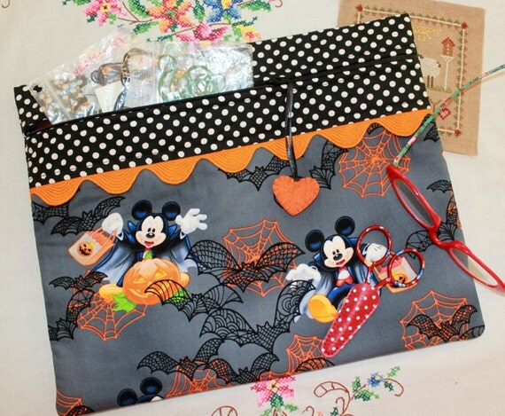 Bats About Mickey Halloween Cross Stitch, Embroidery Project Bag