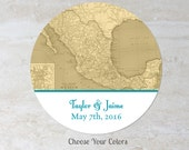 Mexico Favor Label - Mexican Map Wedding Sticker - Baby Bridal Shower Label - Treat Bag Label - Welcome Bag Label - Choose Your Colors